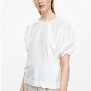 COS white top with gathered sleeves